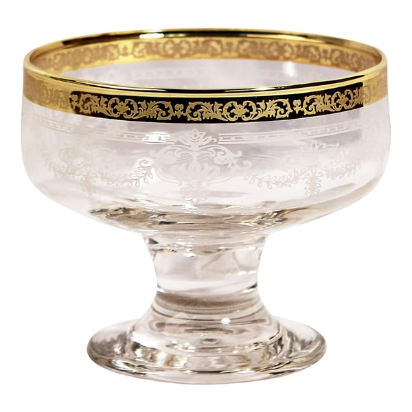 Lorren Home Trend Corona Clear Glass Floral Bowls with Gold Border (Set of 6)