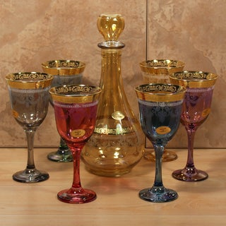 Lorren Home Trend Veneziano, Italy Multicolored 7-piece Bottle and Glass Set