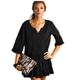 PilyQ Patara Black Christina Cotton Cover-up Dress
