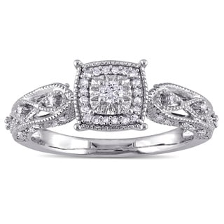 Miadora Sterling Silver 1/5ct TDW Diamond Vintage Halo Engagement Ring (G-H, I2-I3)