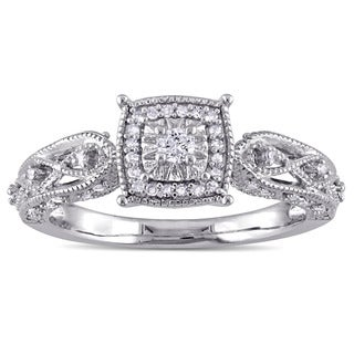 Miadora Sterling Silver 1/5ct TDW Diamond Vintage Halo Engagement Ring