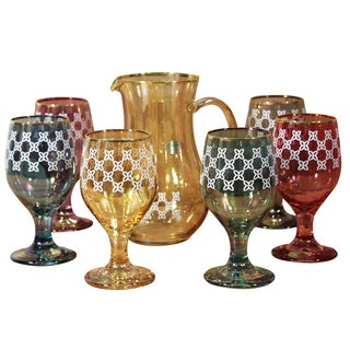 Fantasy - Italy 7-piece Multicolored Pitcher and Goblet Set