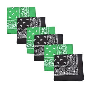 Mechaly Black & Green Paisley 100-percent Cotton Bandanas (6 Pack)