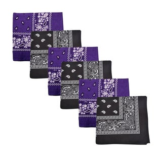 Mechaly Black and Purple Paisley Cotton Bandanas (6 Pack)