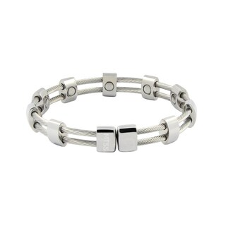 Silver Magnetic Cable Cuff Bracelet