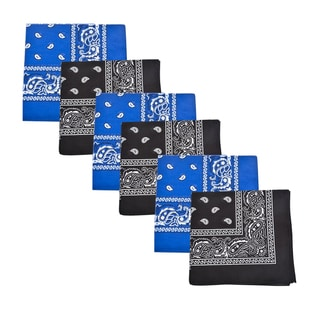 Mechaly Black & Royal Blue Paisley 100% Cotton Bandanas - 6 Pack