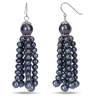 Miadora Sterling Silver Black Cultured Freshwater Pearl Tassel Earrings (4.5-11 mm)
