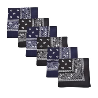Mechaly Black & Navy Blue Paisley 100-percent Cotton Bandannas (6 Pack)