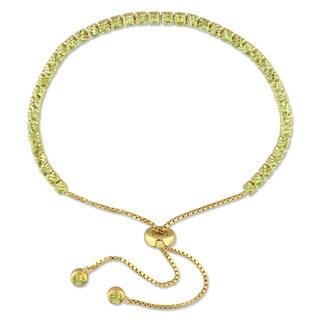 Miadora Yellow Plated Sterling Silver Peridot Adjustable Slider Bracelet