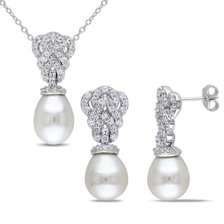 Miadora Sterling Silver Cultured Freshwater Pearl and Created White Sapphire Braided Necklace and Earrings Set (9-9.5 mm)