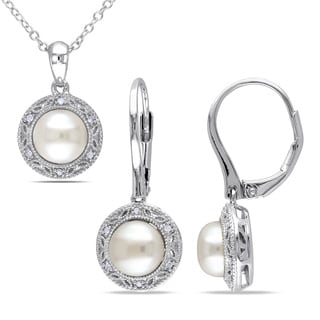 Miadora Sterling Silver Cultured Freshwater Pearl and 1/10ct TDW Diamond Halo Necklace and Earrings Set (7.5-8 mm)(G-H, I2-I3)