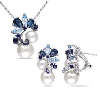 Miadora Sterling Silver Cultured Freshwater Pearl, Topaz and Sapphire Necklace and Earrings Set