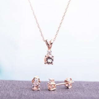 Link to Miadora 10k Rose Gold Morganite and 1/10ct TDW Diamond Necklace and Earrings Set (G-H, I2-I3) - Pink Similar Items in Necklaces