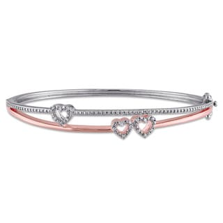 Miadora 2-tone Rose Plated Sterling Silver 1/10ct TDW Diamond Heart Bangle Bracelet (G-H, I2-I3)