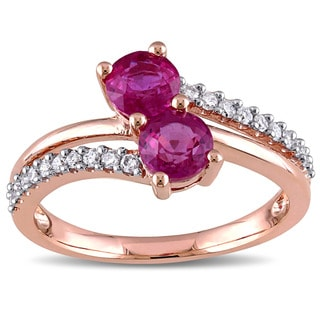 Miadora Signature Collection 10k Rose Gold Pink Sapphire and 1/5ct TDW Diamond Split Shank Bypass Ring (G-H, I2-I3)
