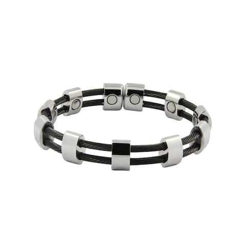 Magnetic Stainless Steel Silver and Black Cable Cuff Bracelet