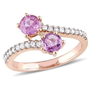 Miadora Signature Collection 10k Rose Gold Pink Sapphire and 1/5ct TDW Diamond Bypass Ring (G-H, I2-I3)
