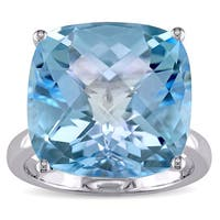 Miadora Signature Collection 14k White Gold Cushion-cut Sky Blue Topaz Cocktail Ring
