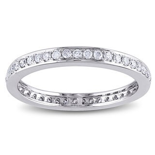 Miadora Signature Collection 14k White Gold 1/2ct TDW Diamond Eternity Ring
