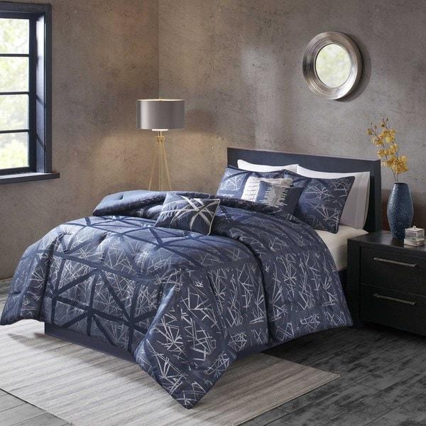 Madison Park Nico Navy Blue Comforter 7-piece Set