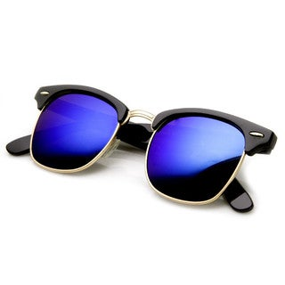 Mechaly Classic Clubmaster Style Black Mirror Unisex Sunglasses