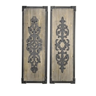 Langton Black/Brown Wood/Metal Wall Hanging Art