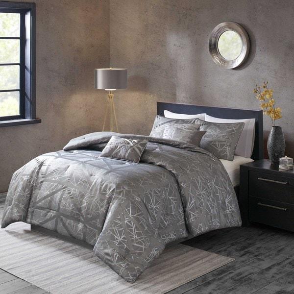Shop Madison Park Nico Grey Comforter 7 Piece Set Free