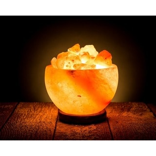 HemingWeigh Rock Salt Fire Bowl Lamp with Salt Chips on Wood Base