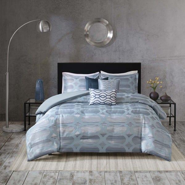 Shop Madison Park Matteo Blue Comforter Set Free Shipping