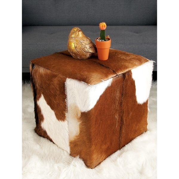 Shop Farmhouse 17 Inch Goat Leather And Wood Ottoman By
