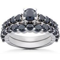 14k White Gold 2ct TDW Black Diamond Engagement Wedding Ring Set