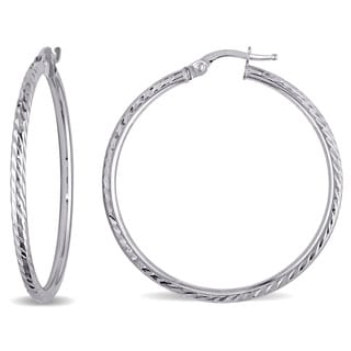 Miadora 10k White Gold Rounded Hoop Earrings