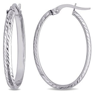 Miadora 10k White Gold Classic Hoop Earrings