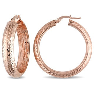 Miadora 10k Rose Gold Rounded Hoop Earrings