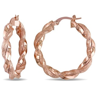 Miadora 10k Rose Gold Twist Hoop Earrings