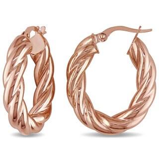 Miadora 10k Rose Gold Vintage Hoop Earrings