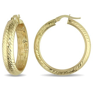 Miadora 10k Yellow Gold Rounded Hoop Earrings