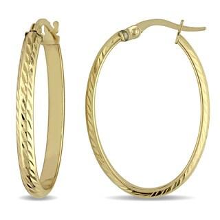 Miadora 10k Yellow Gold Classic Slender Hoop Earrings