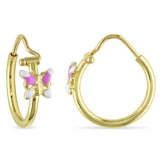 Miadora Italian 18k Yellow Gold with Pink and White Enamel Baby Butterfly Hoop Earrings