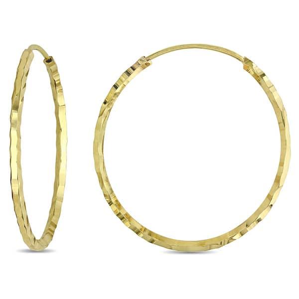 1ebab01c549fbe Miadora Italian 18k Yellow Gold Diamond Cut Slender Hoop Earrings