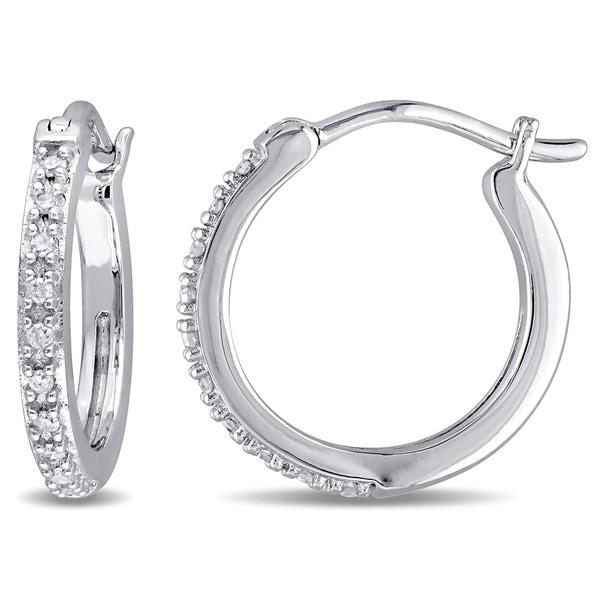Miadora 10k White Gold 1/10ct TDW Diamond Hoop Earrings