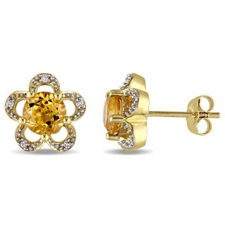 Laura Ashley 10k Yellow Gold Citrine and Diamond Accent Flower Stud Earrings