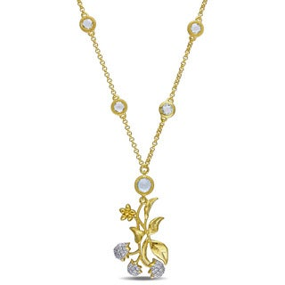 Laura Ashley Yellow Plated Sterling Silver Blue Topaz and White Sapphire Floral Branch Necklace
