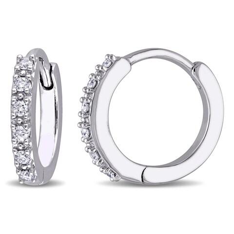 Miadora 10k White Gold 1/8ct TDW Diamond Hinged Hoop Earrings