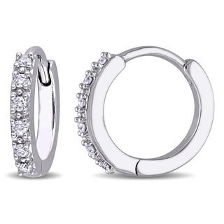 Miadora 10k White Gold 1/8ct TDW Diamond Hinged Hoop Earrings (G-H, I1-I2)