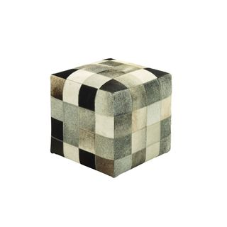 Wood/Cowhide Leather 16-inch x 16-inch Patchwork Ottoman
