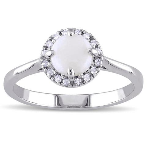Miadora Sterling Silver Opal and 1/10ct TDW Diamond Halo Ring (G-H, I2-I3)
