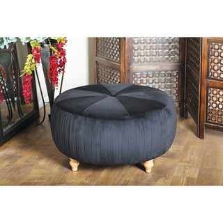 Grey Leather Hide/Wood 16-inches High x 16-inches Wide Ottoman