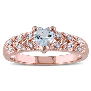 Miadora Rose Plated Sterling Silver Aquamarine and Diamond Accent Heart Petal Ring
