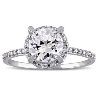Miadora 10k White Gold Created White Sapphire and Diamond Halo Engagement Ring